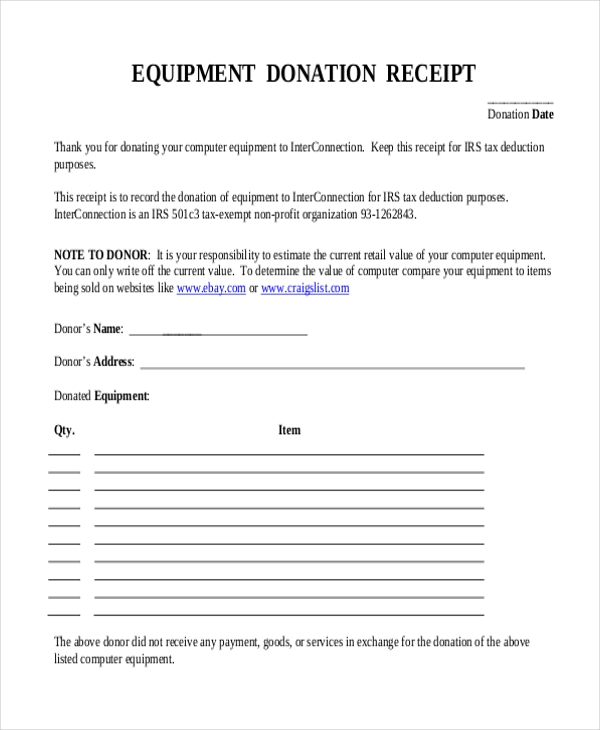 sample donation receipt form