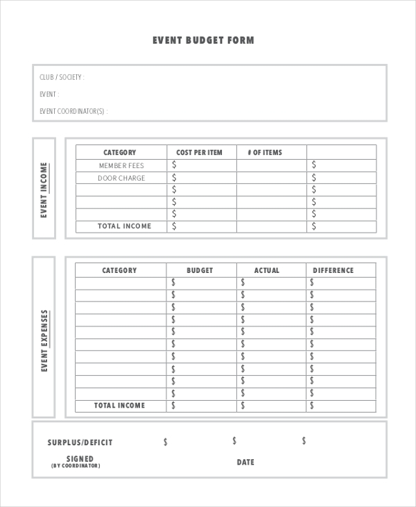 Sample Budget Form - 10+ Free Documents In Pdf