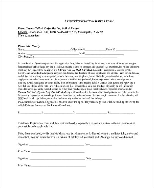 event registration waiver form