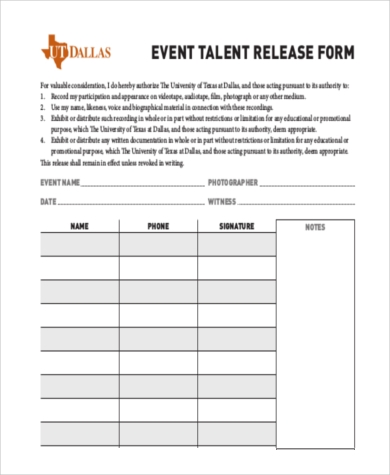 event talent release form