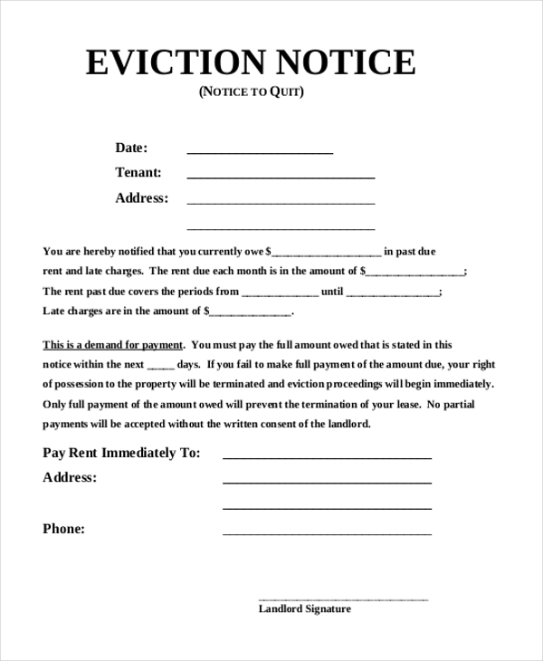 Sample Eviction Notice Form   Free Documents In Pdf Doc