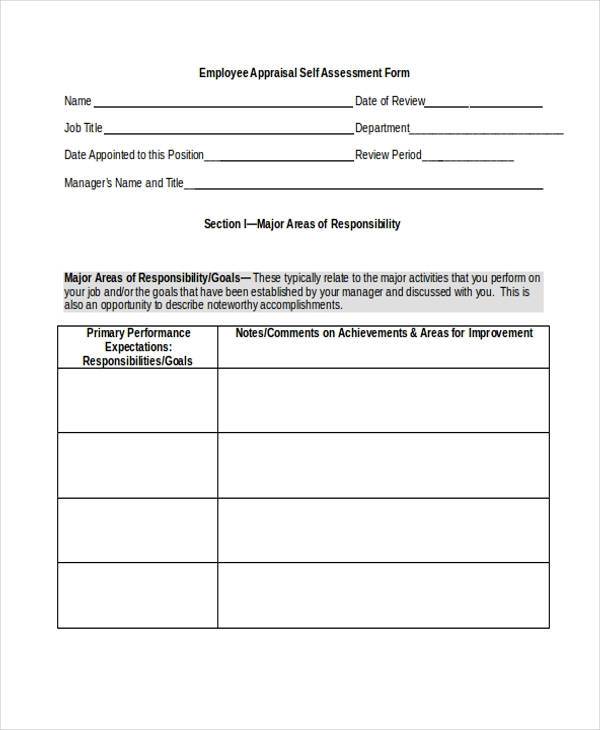 employee appraisal self assessment form