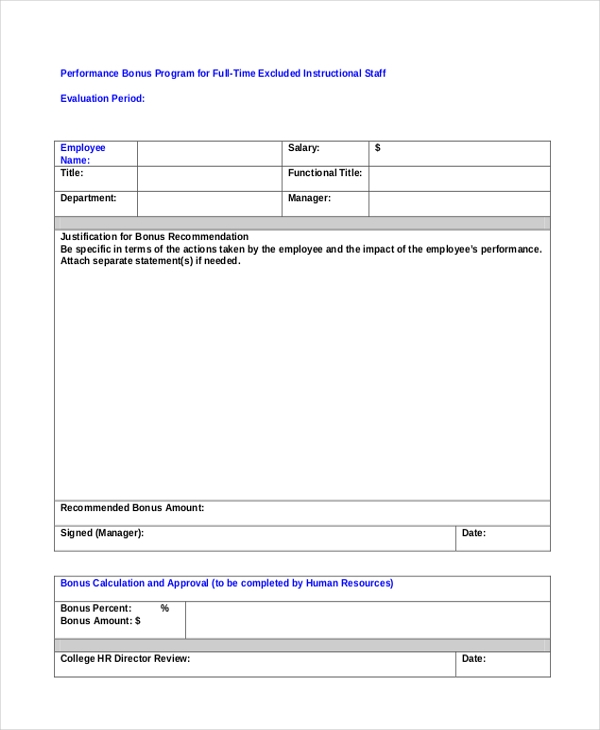 Sample employee appraisal form free documents in pdf doc for Performance bonus template