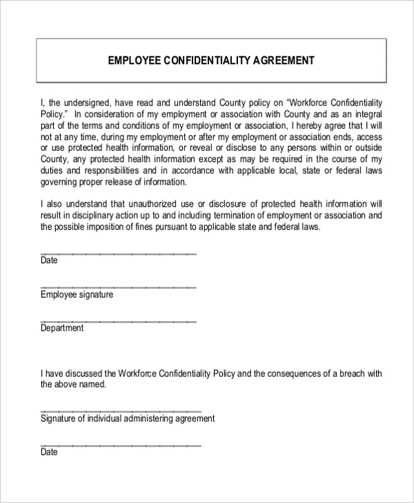Sample Confidentiality Agreement Form 9 Free Documents in Doc PDF – Sample Confidentiality Agreement