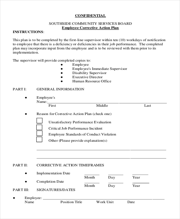 Sample Employee Action Forms  Free Sample Example Format