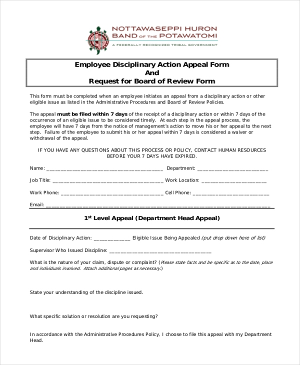 employee disciplinary action appeal form1