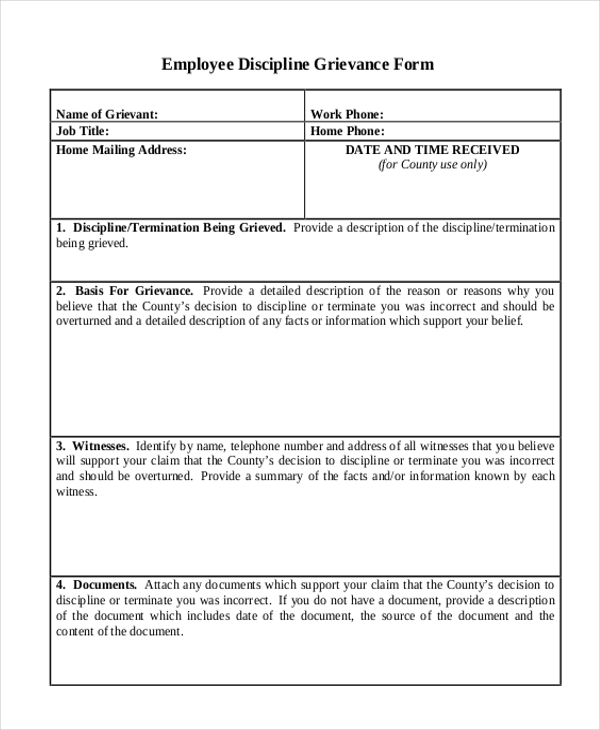 employee discipline grievance form