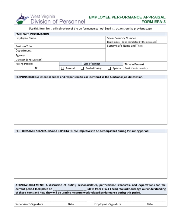 Sample Employee Appraisal Form - Free Documents In Pdf, Doc