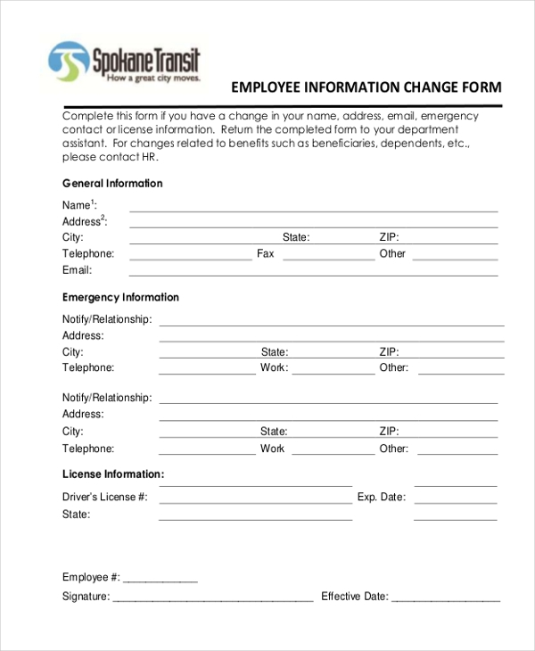 Sample Employee Information Form 10 Free Documents in Doc PDF – Employee Information Form Sample
