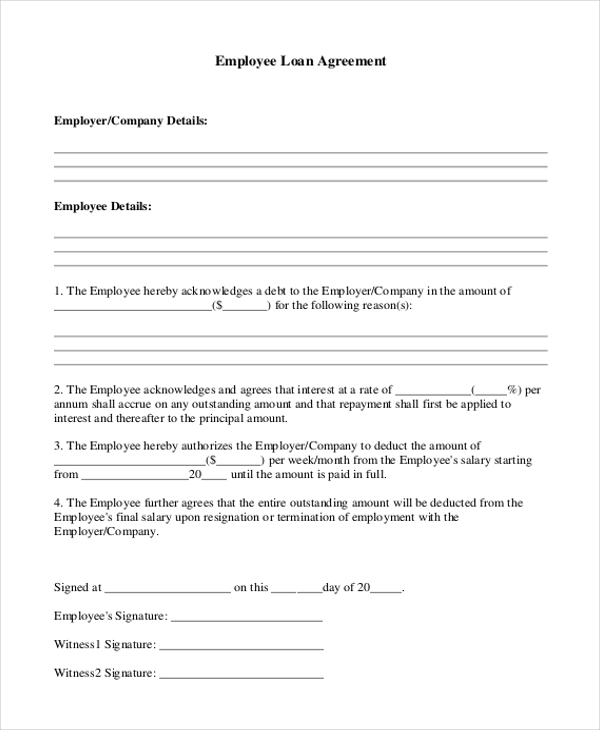 9 Sample Loan Agreement Form Sample Example Format – Loan Agreement Format