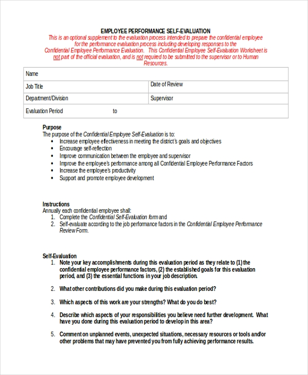 Self Evaluation Form Sample - 9+ Free Documents In Pdf, Doc
