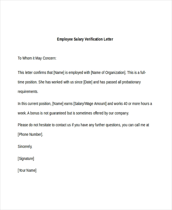 Sample Employee Verification Letter 8 Free Documents in PDF Doc – Sample Income Verification Letter