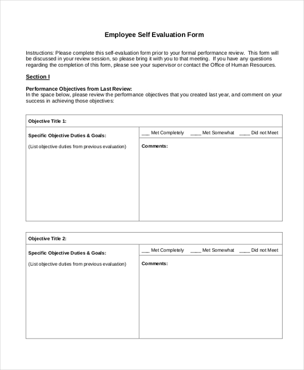employee self evaluation form in pdf