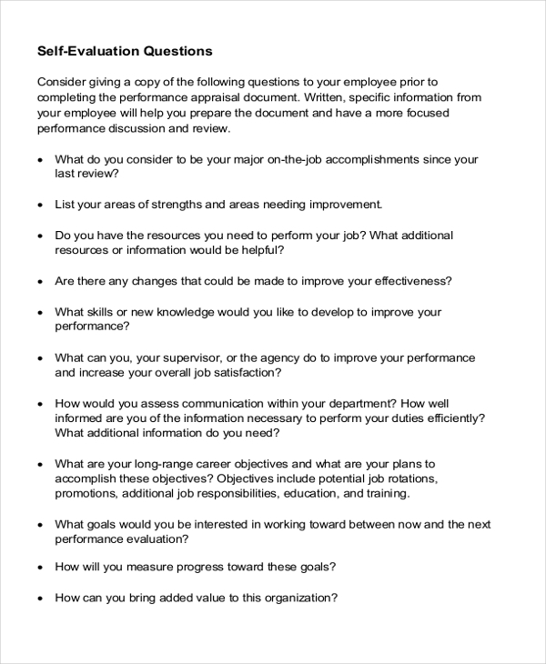 Sample Employee Self Evaluation Form 8 Free Documents in PDF Doc – Self Performance Evaluation