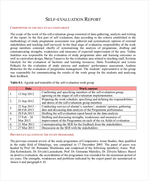 Employee Self Evaluation Report  Employee Self Evaluation Forms Free