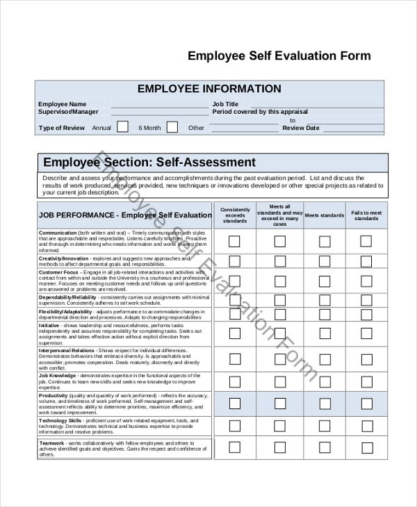 Sample employee self evaluation form 8 free documents for Self assessment templates employees
