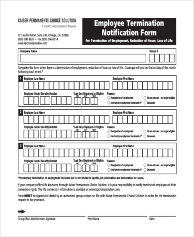 employee termination notification form