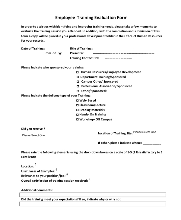 Sample Evaluation Form Financial Seminar Evaluation Form Sample