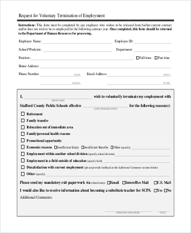 Sample Employee Termination Form   Free Documents In Doc Pdf