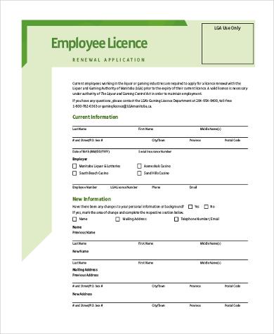 employment renewal form