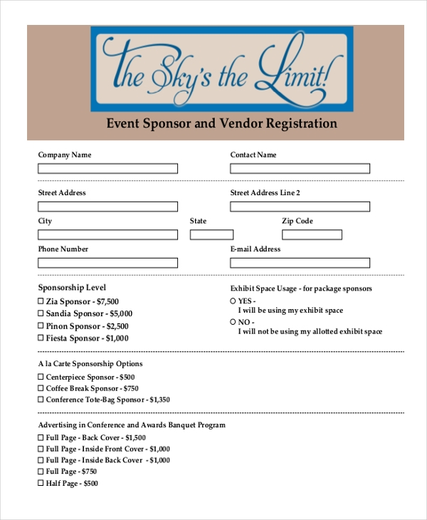 Sample Event Registration Form   Free Documents In Doc Pdf