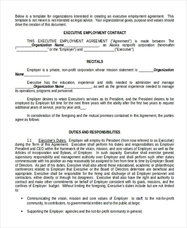 executive employment contract