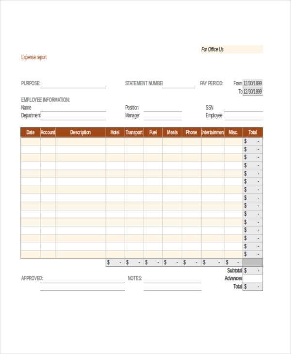 expense report for small business