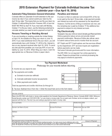 Sample Income Tax Extension Form   Free Documents In Pdf