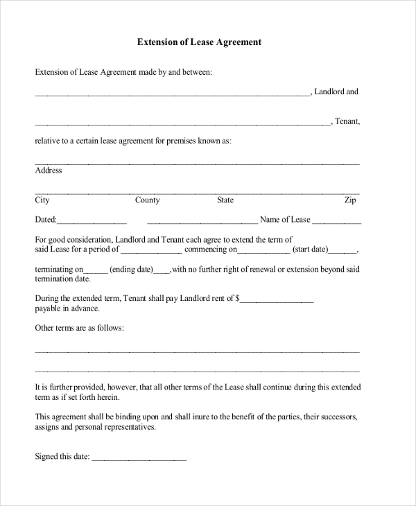 extension of lease agreement