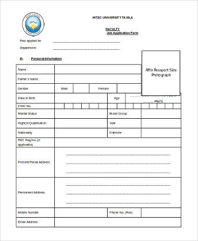 faculty job application form