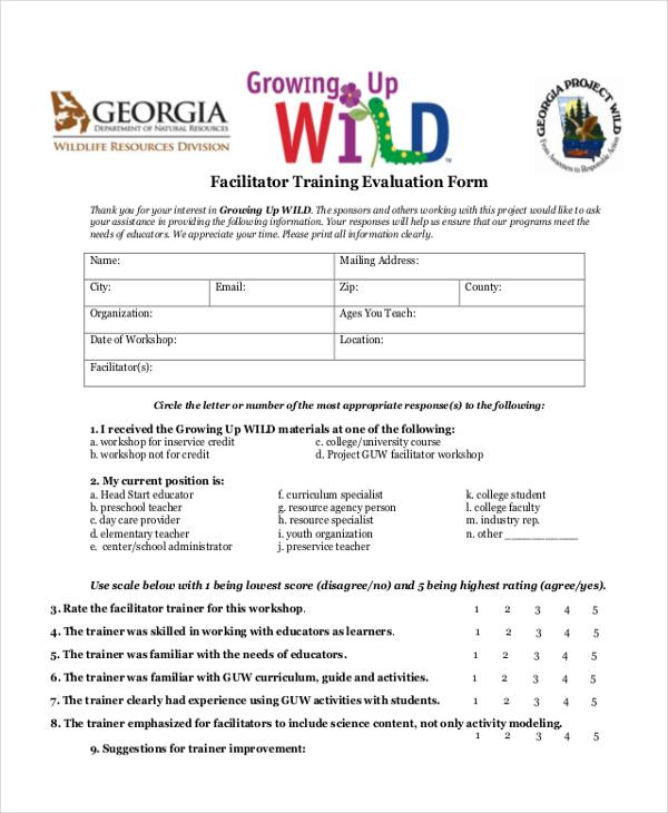 facilitator training evaluation form