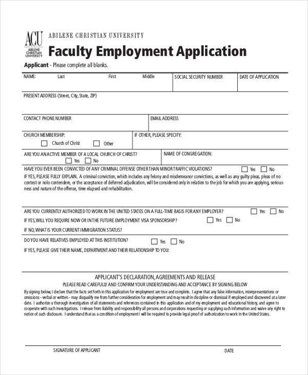 faculty employment application