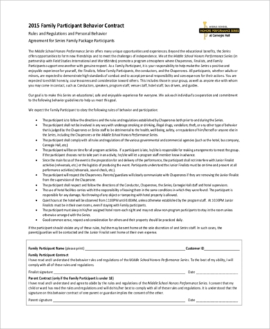 family behavior contract