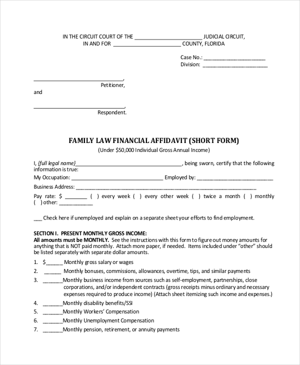 family law financial affidavit form