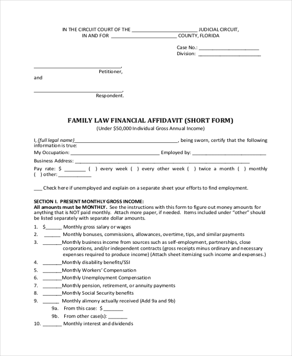 family law financial affidavit short form