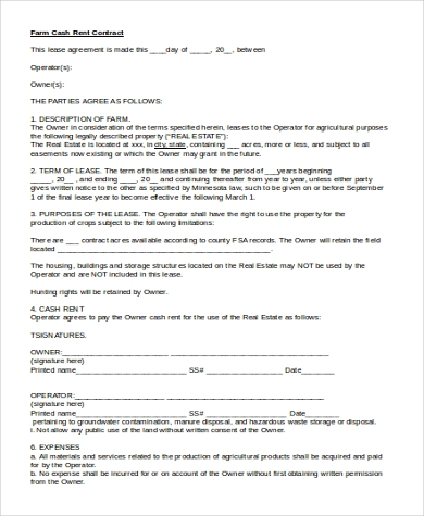 Farm Cash Rent Contract