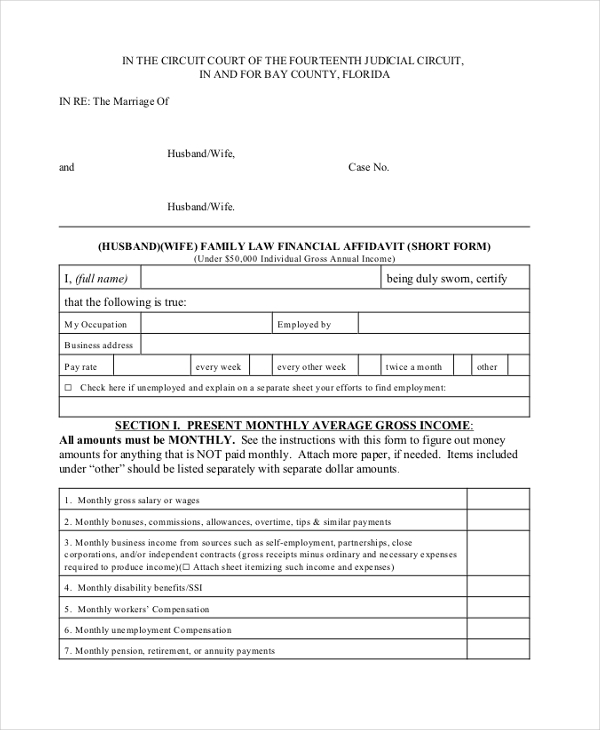 financial affidavit short form