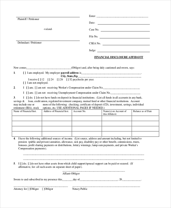 financial disclosure affidavit form
