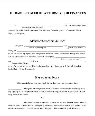 Sample Pa Power Of Attorney Form 8 Free Documents In Doc Pdf