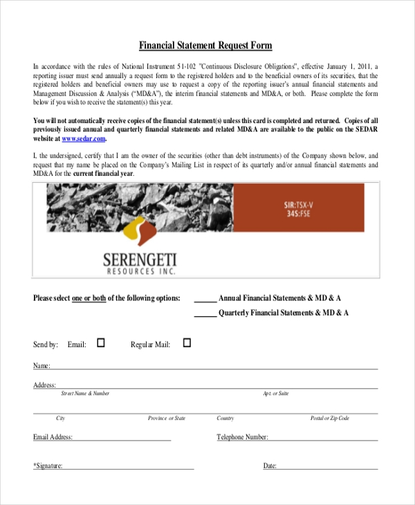 financial statement request form
