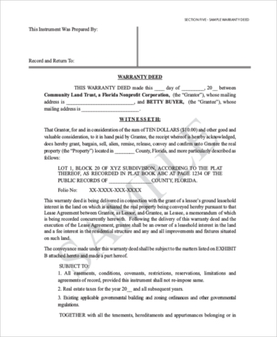Sample Statutory Warranty Deed Form - 7+ Free Documents In Pdf