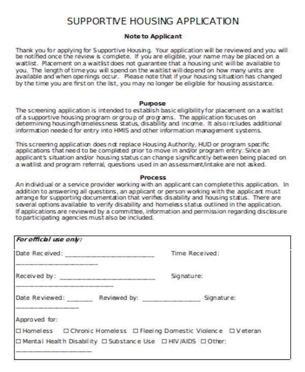formal housing application form