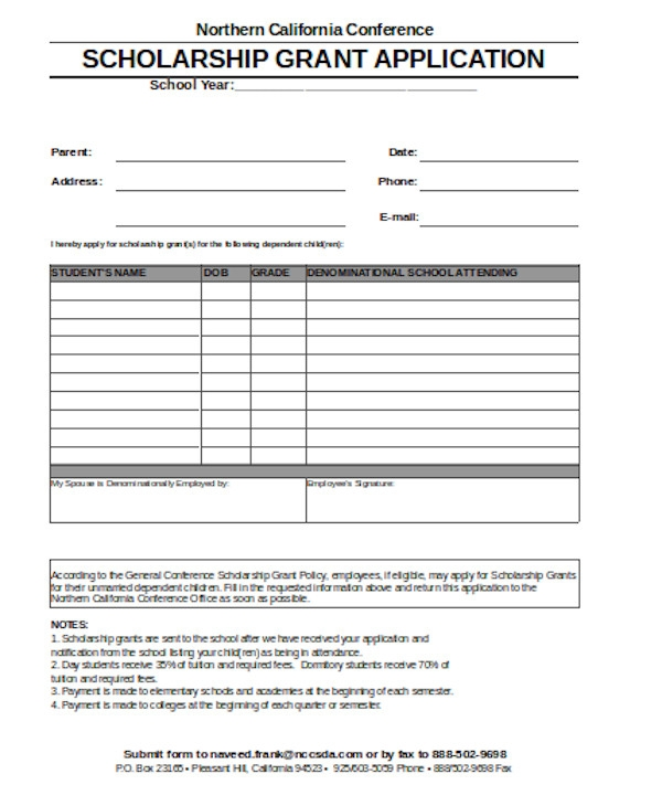 formal scholarship grant application