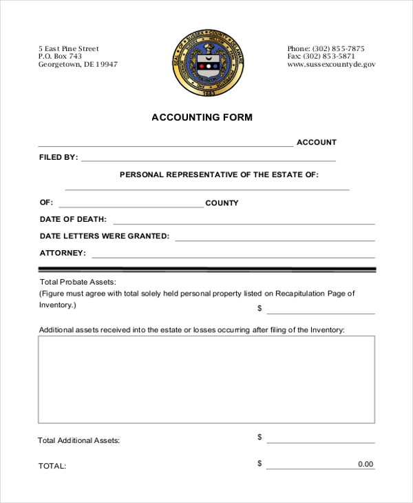 free basic accounting form