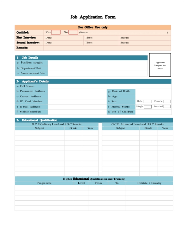 Free Blank Job Application Form  BesikEightyCo