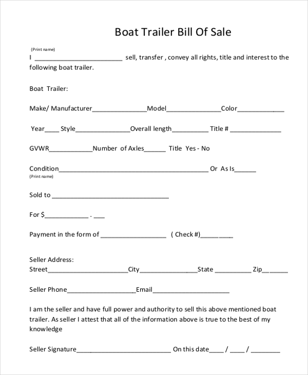 Free Boat Trailer Bill Of Sale Form