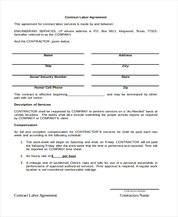 Contract Agreement Sample Contract Agreement Template Free