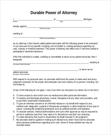 Influential image within printable durable power of attorney