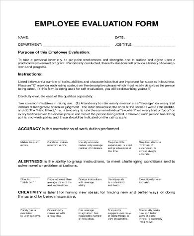 free employee evaluation form