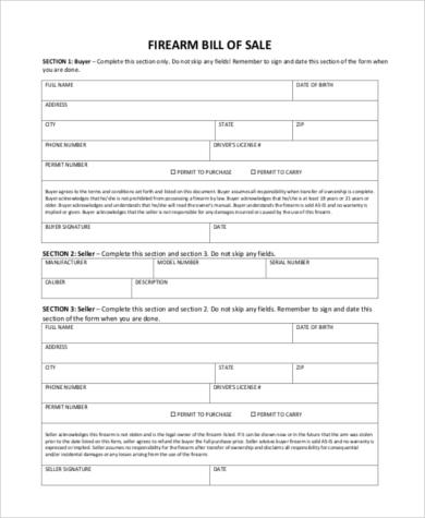 free firearm bill of sale
